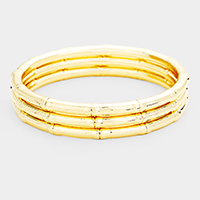 3PCS - Multi Layered Textured Metal Bangles