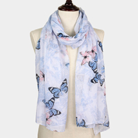 Butterfly Print Oblong Scarf