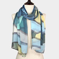 Abstract Print Pleated Scarf