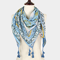 Flower Print Reversible  Square Scarf