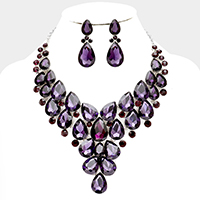 Crystal Teardrop Cluster Evening Collar Necklace