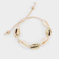 Gold Shell Cord Braided Adjustable Bracelet