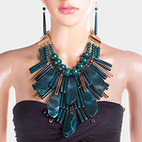 Multi Strand Abstract Celluloid Acetate Beaded  Necklace