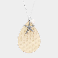 Woven Straw Teardrop Starfish Pearl Charm Long Necklace