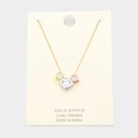 Gold Dipped Cubic Zirconia Triple Square Pendant Necklace