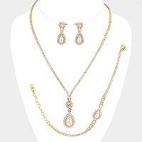 3PCS - Rhinestone Pave Pearl Teardrop Necklace Set