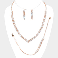 3PCS - Rhinestone Pave Bubble V Collar Necklace Set