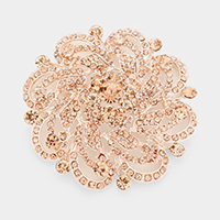 Pave Flower Pin Brooch