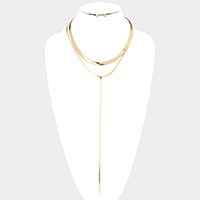 Double Layered Metal Chain Y Necklace