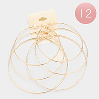 12 Set of 3 - Mixed Plain Metal Hoop Earrings