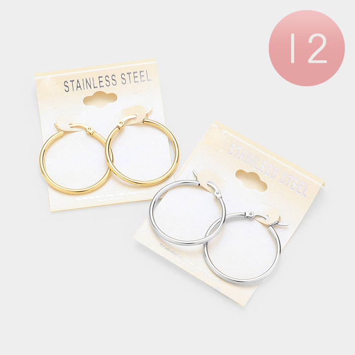 12Pairs - Stainless Steel Hoop Earrings