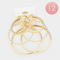 12 Set of 3 - Mixed Patterned Metal Hoop Earring
