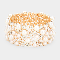 Crystal Round Pearl Cluster Stretch Bracelet