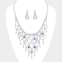 Crystal Teardrop Rhinestone Pave Net Collar Necklace