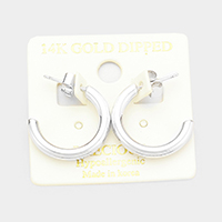 14K White Gold Dipped Hypoallergenic Hoop Earrings
