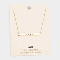'Hope' Horizontal Metal Bar Pendant Necklace