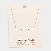 'Faith Hope Love' Horizontal Metal Bar Pendant Necklace