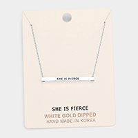'She Is Fierce' Horizontal Metal Bar Pendant Necklace
