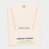 'Forever Friends' Horizontal Metal Bar Pendant Necklace