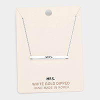 'Mrs.' Horizontal Metal Bar Pendant Necklace
