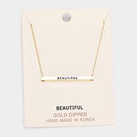 'Beautiful' Horizontal Metal Bar Pendant Necklace