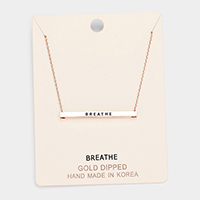 'Breathe' Horizontal Metal Bar Pendant Necklace