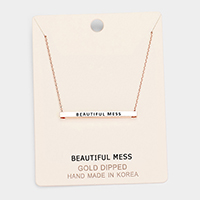 'Beautiful Mess' Horizontal Metal Bar Pendant Necklace