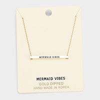'Mermaid Vibes' Horizontal Metal Bar Pendant Necklace