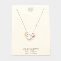 White Gold Dipped Cubic Zirconia Triple Square Pendant Necklace