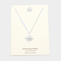 White Gold Dipped Cubic Zirconia North Star Pendant Necklace