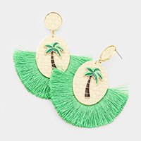 Woven Straw Oval Palm Tree Fan Tassel Earrings