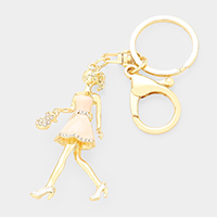 Crystal Pave Enamel Girl Key Chain