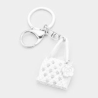 Floral Charm Crystal Metal Handbag Key Chain