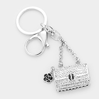 Crystal Embellished Bag Floral Charm Key Chain