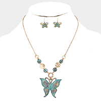 Patterned Metal Butterfly Pendant Necklace
