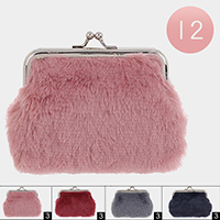 12PCS - Faux Fur Coin Clasp Purses