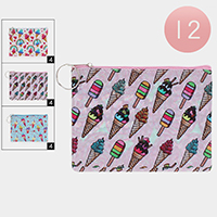 12PCS - Ice Cream Pattern Zipper Pouch Bag