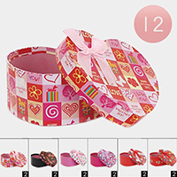 12PCS - Heart Flower Butterfly Pattern Bow Gift Boxes