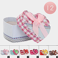 12PCS - Heart Flower Pattern Bow Jewelry Gift Boxes