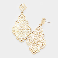 Metal Filigree Shell Floral Earrings