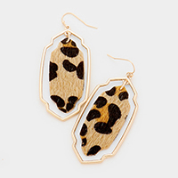 Metal Moroccan Leopard Leather Dangle Earrings