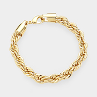 Gold Plated Square Clasp Style Rope Chain Bracelet