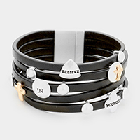 'Believe in Yourself'  Multi Strand Leather Magnetic Bracelet