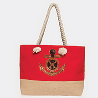 Sequin Anchor Rope Handle Canvas Tote Bag