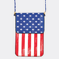American Flag Pattern Touch View Cell Phone Cross Bag
