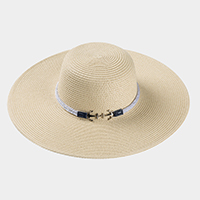 Double Anchor Rope Trim Straw Sun Hat