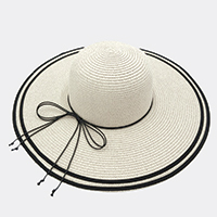 Two Woven Stripe Band Summer Hat