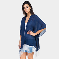 Solid Laced  Back Long Fringe Kimono Cardigan