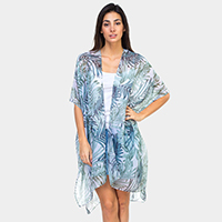 Palm Tree Leaves Print Kimono Cardigan