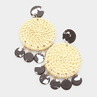 Woven Straw Celluloid Acetate Round Earrings